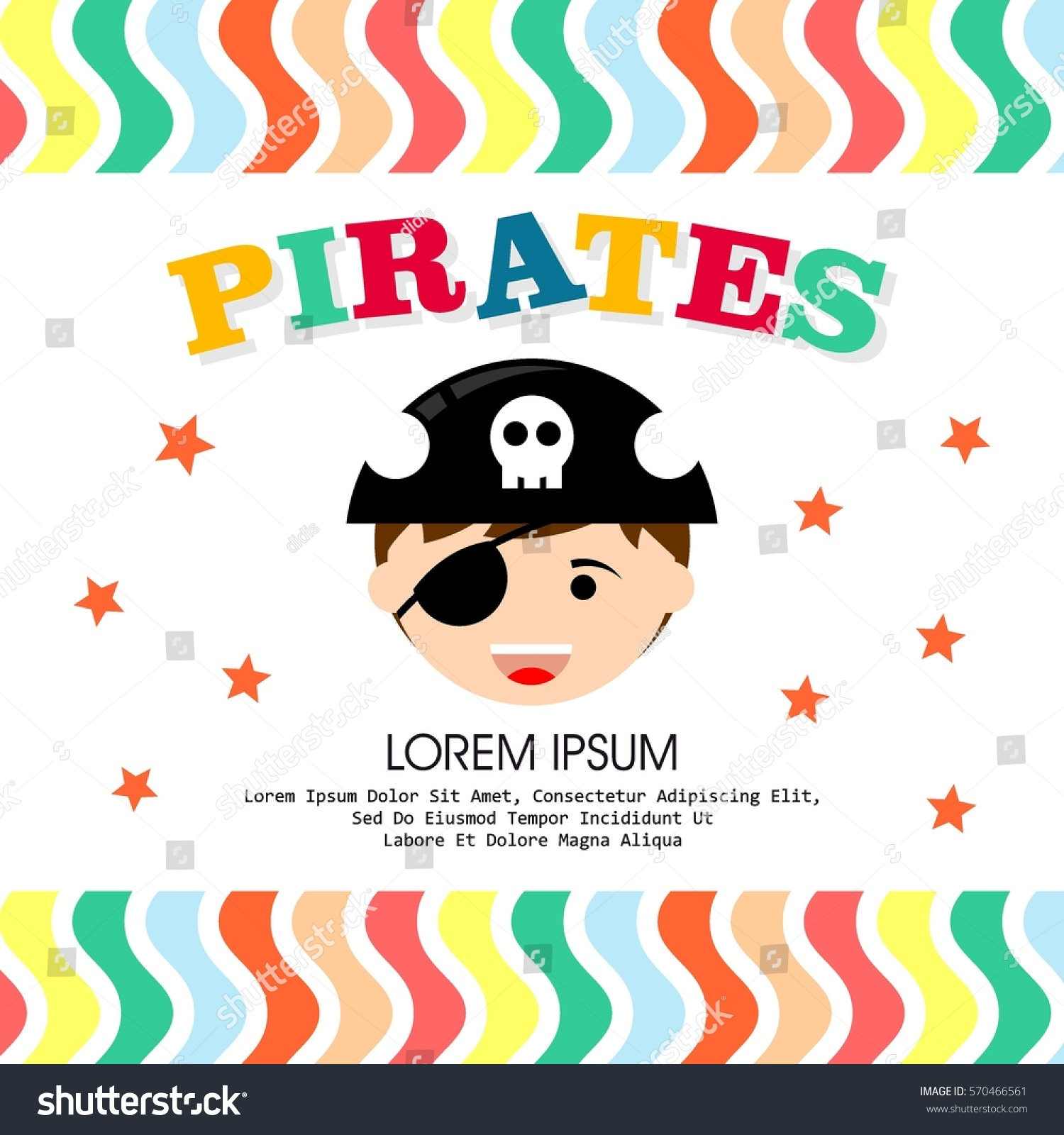 Kid pirate costume poster birthday party stock vector 570466561 kid in pirate costume poster birthday and party invitation card in pirate theme concept stopboris