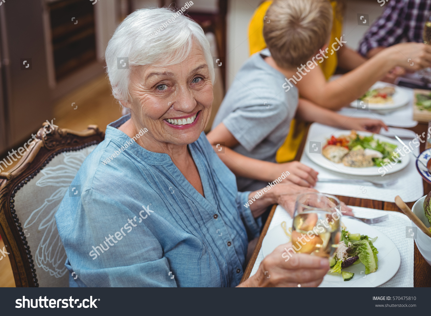 Portrait Smiling Granny Sitting Dining Table Stock Photo (Edit Now ...