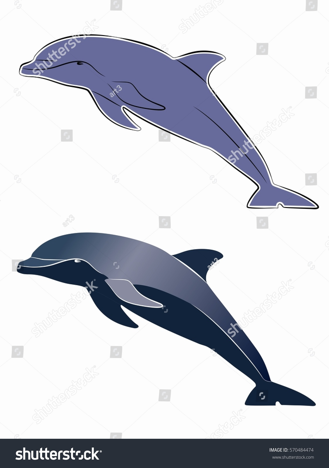 Silhouette Leaping Dolphin Color Drawing White Stock Vector ...