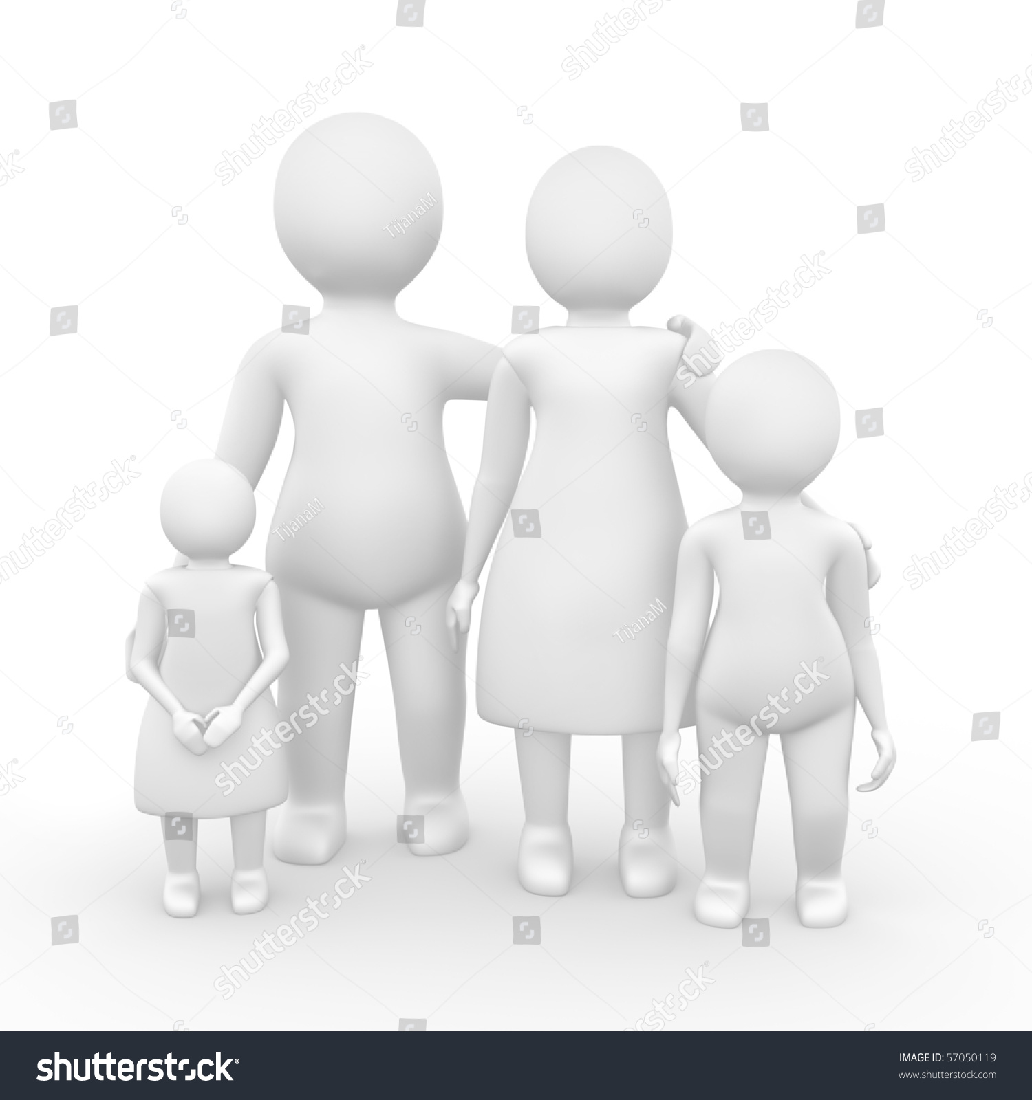 Family of four members 3d illustration isolated on white 57050119