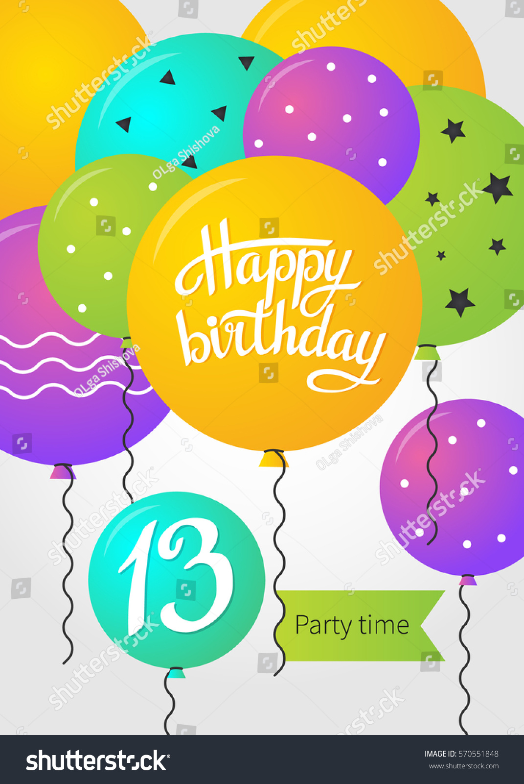 Happy Birthday Card Template With Balloons 13 Years Vector Illustration