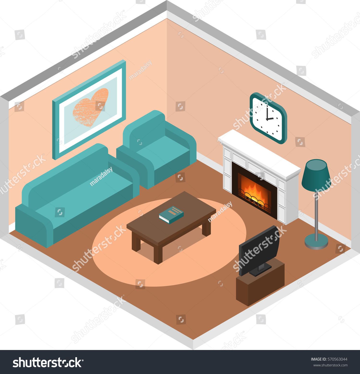 Living Room Interior In Isometric Style. House Design With Fireplace And  Furniture. Vector 3D