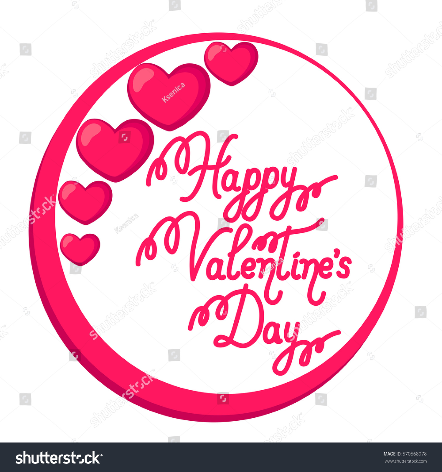 Happy Valentines Day Greeting Card With Pink Hearts Vector