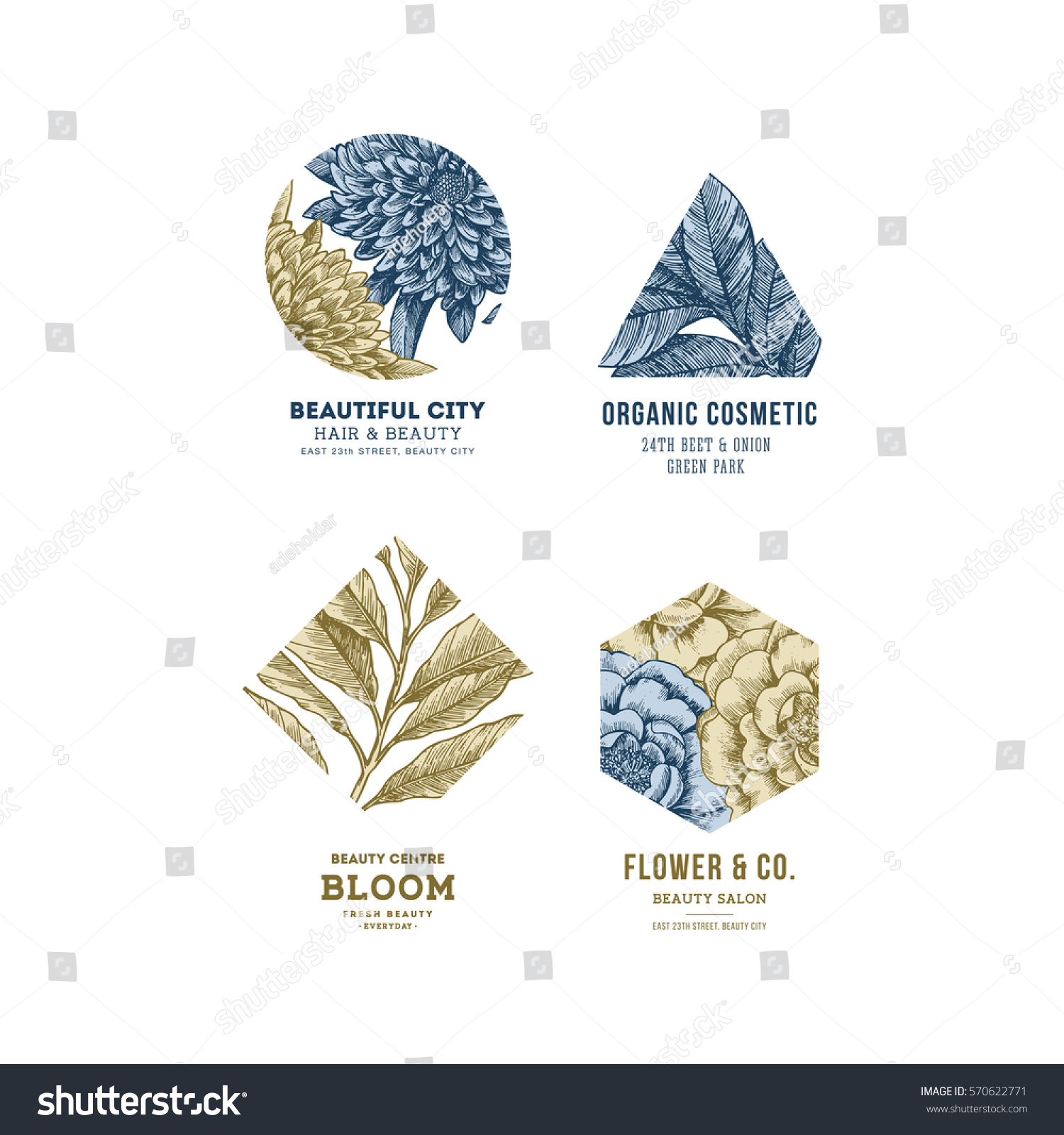 Simple Logo Collection Engraved Logotype Set Stock Vector Royalty