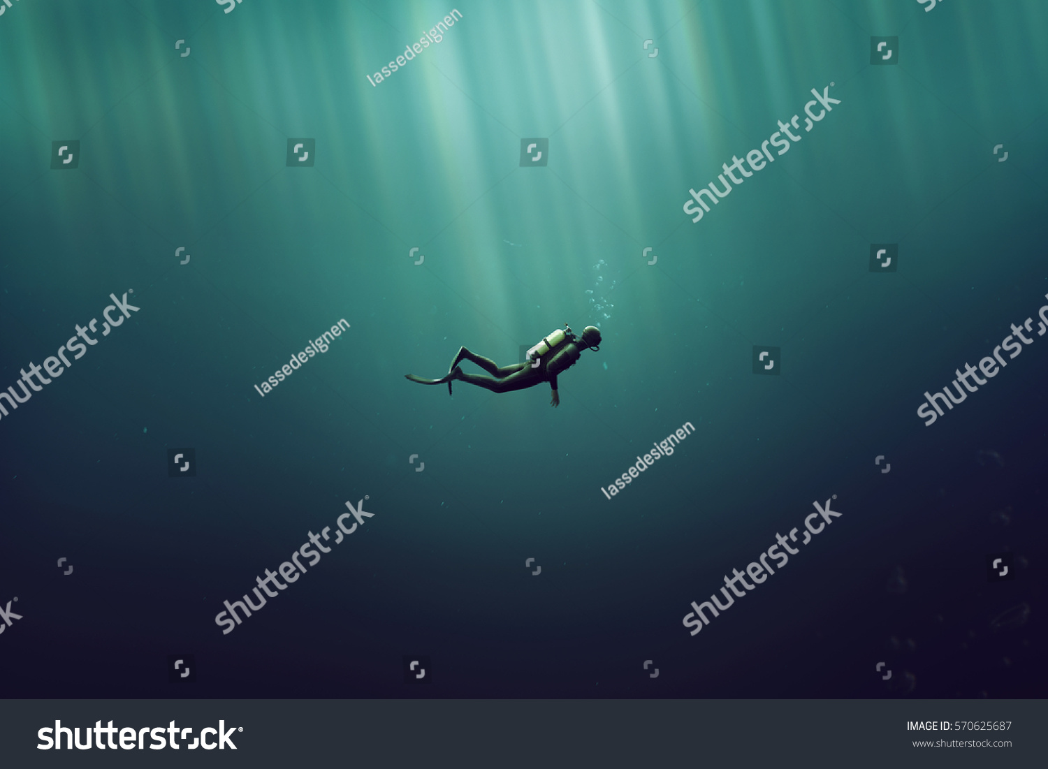 Diver in the deep sea #570625687