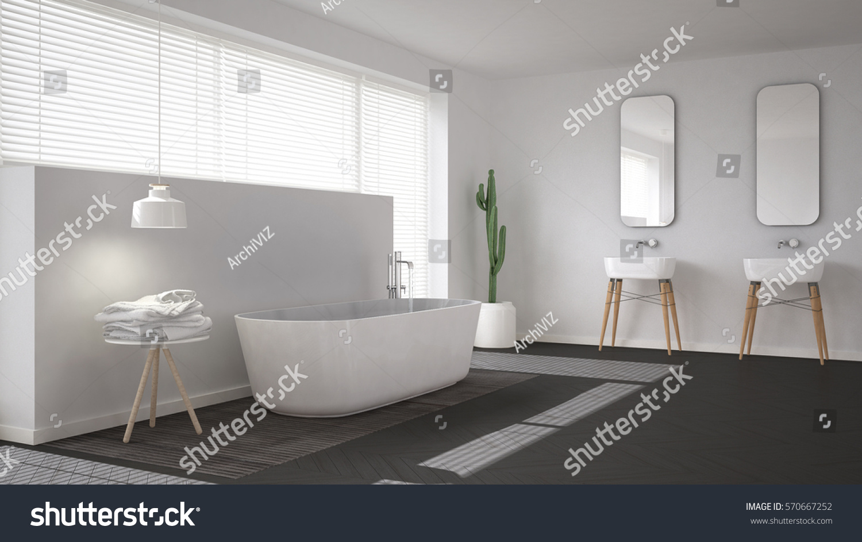 Scandinavian bathroom white minimalistic interior design for Bathroom interior design 3d
