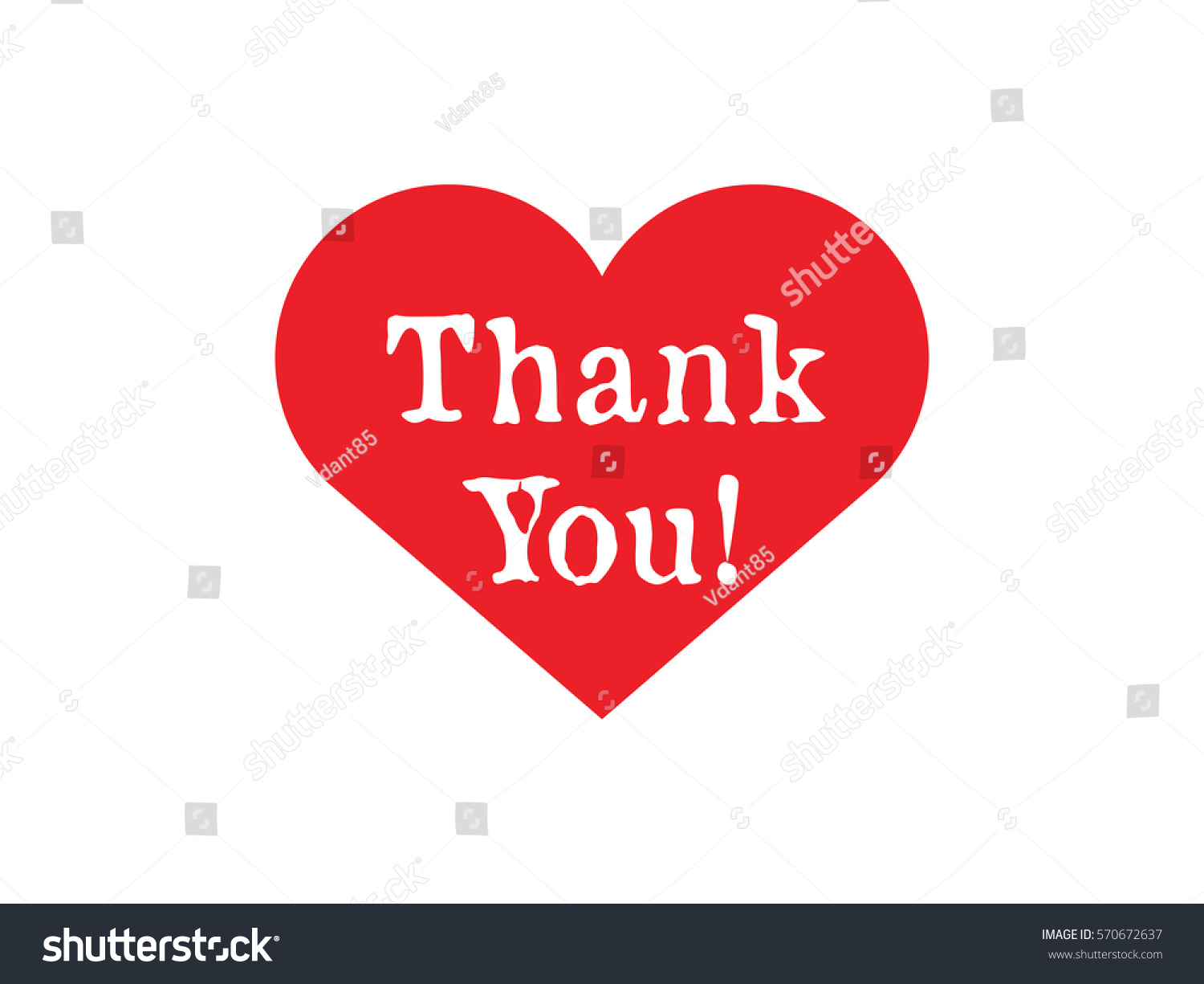 Thank You Typography Red Heart Shape Stock Vector