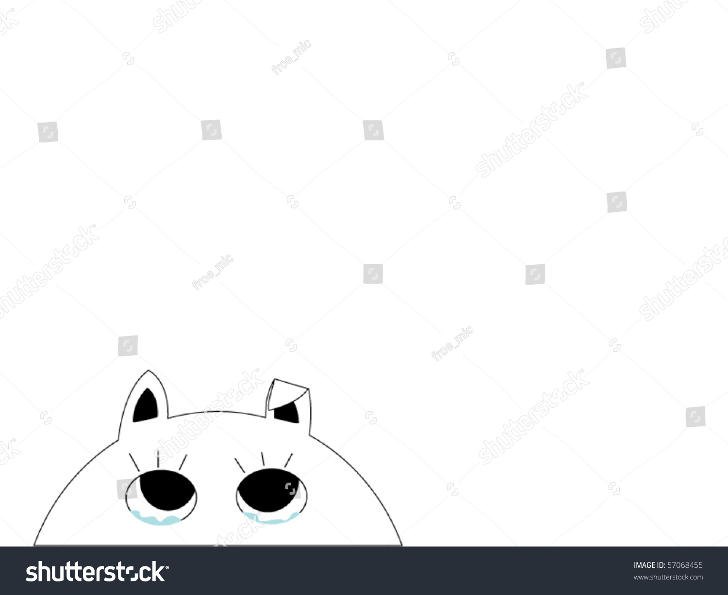 Retro Line Drawing Of A Sad Cat Stock Vector Illustration