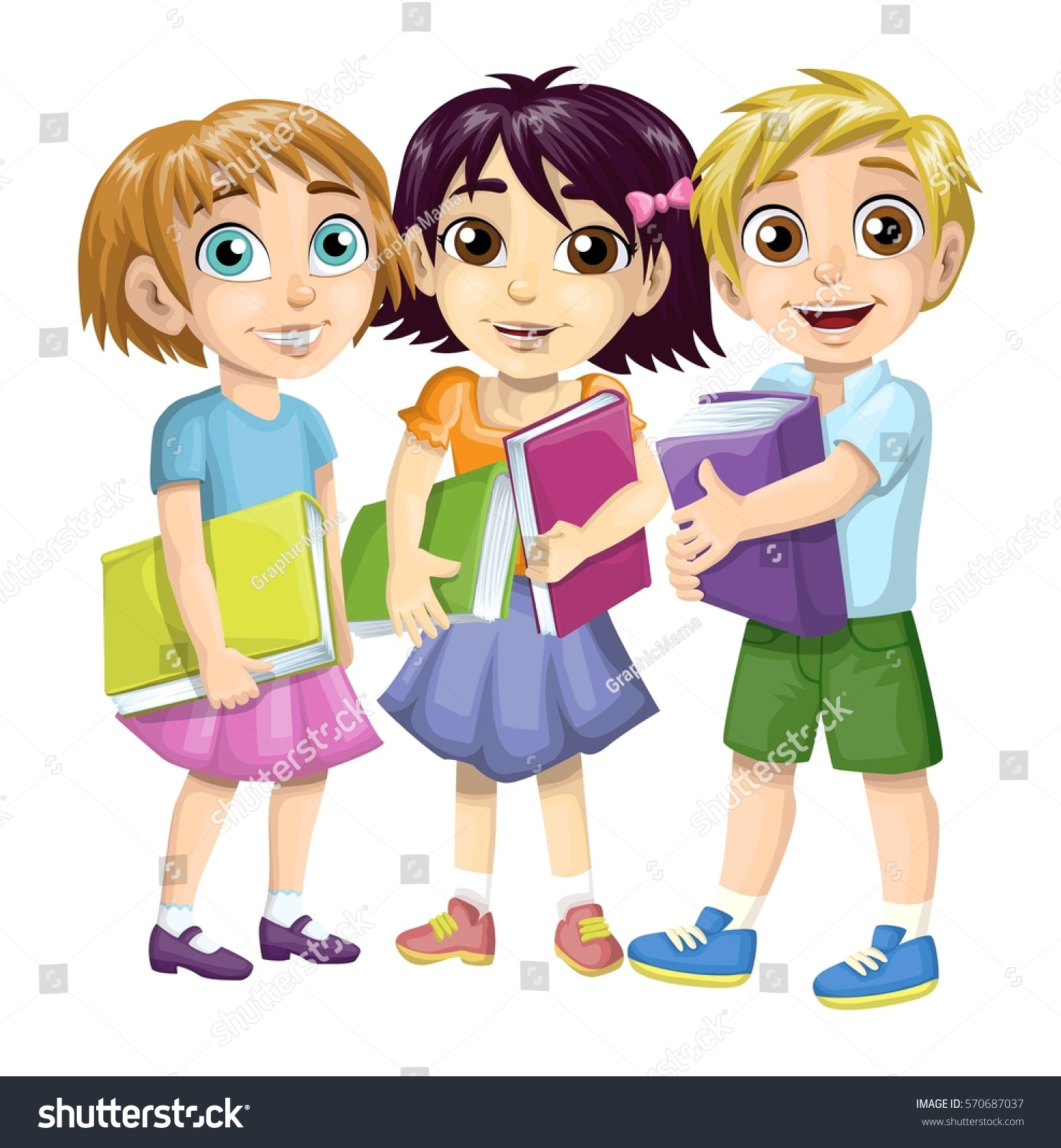 Group School Children Friends Stock Vector Royalty Free 570687037