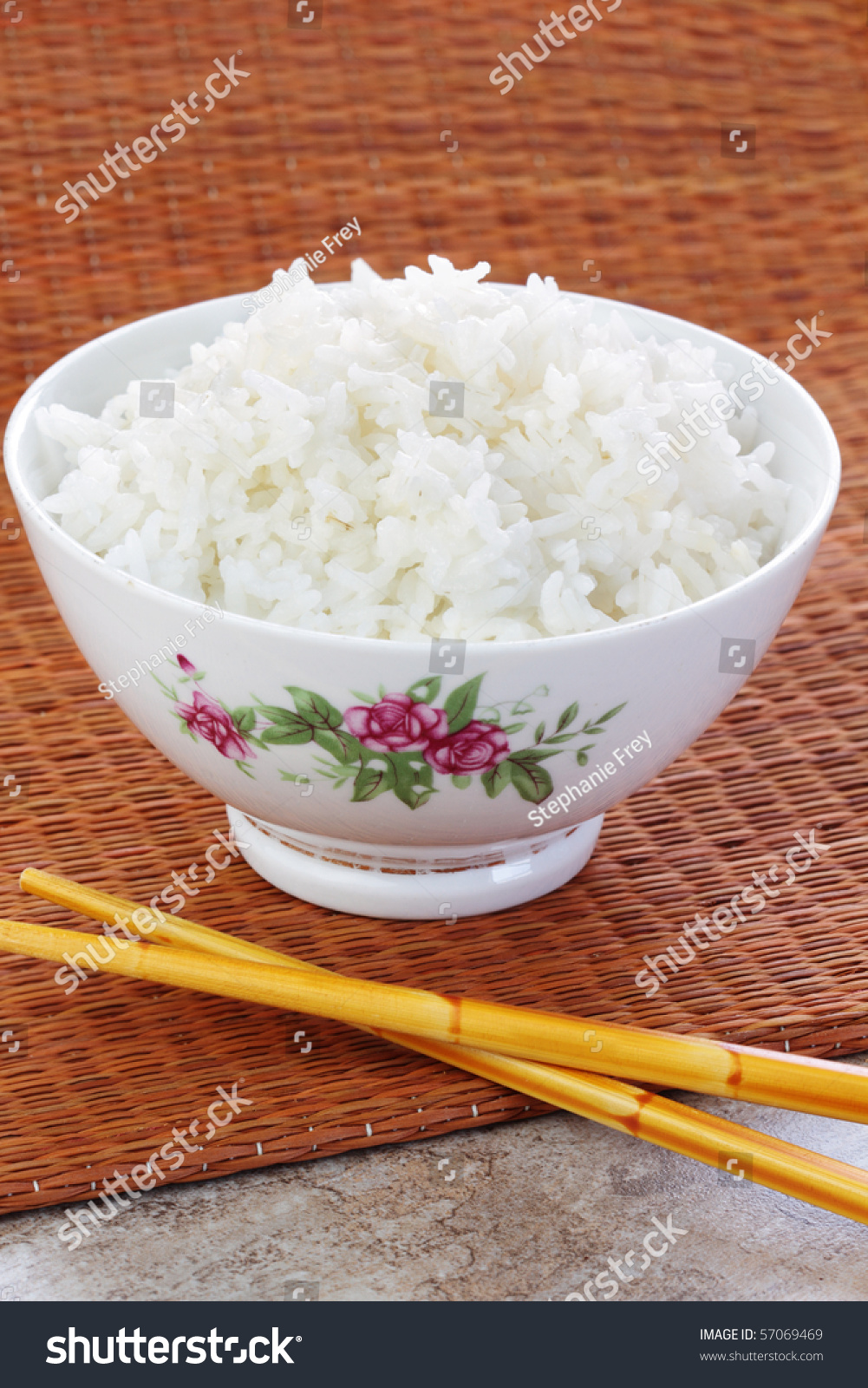 Bowl Of Prepared White Rice With Chopsticks. Stock Photo ...