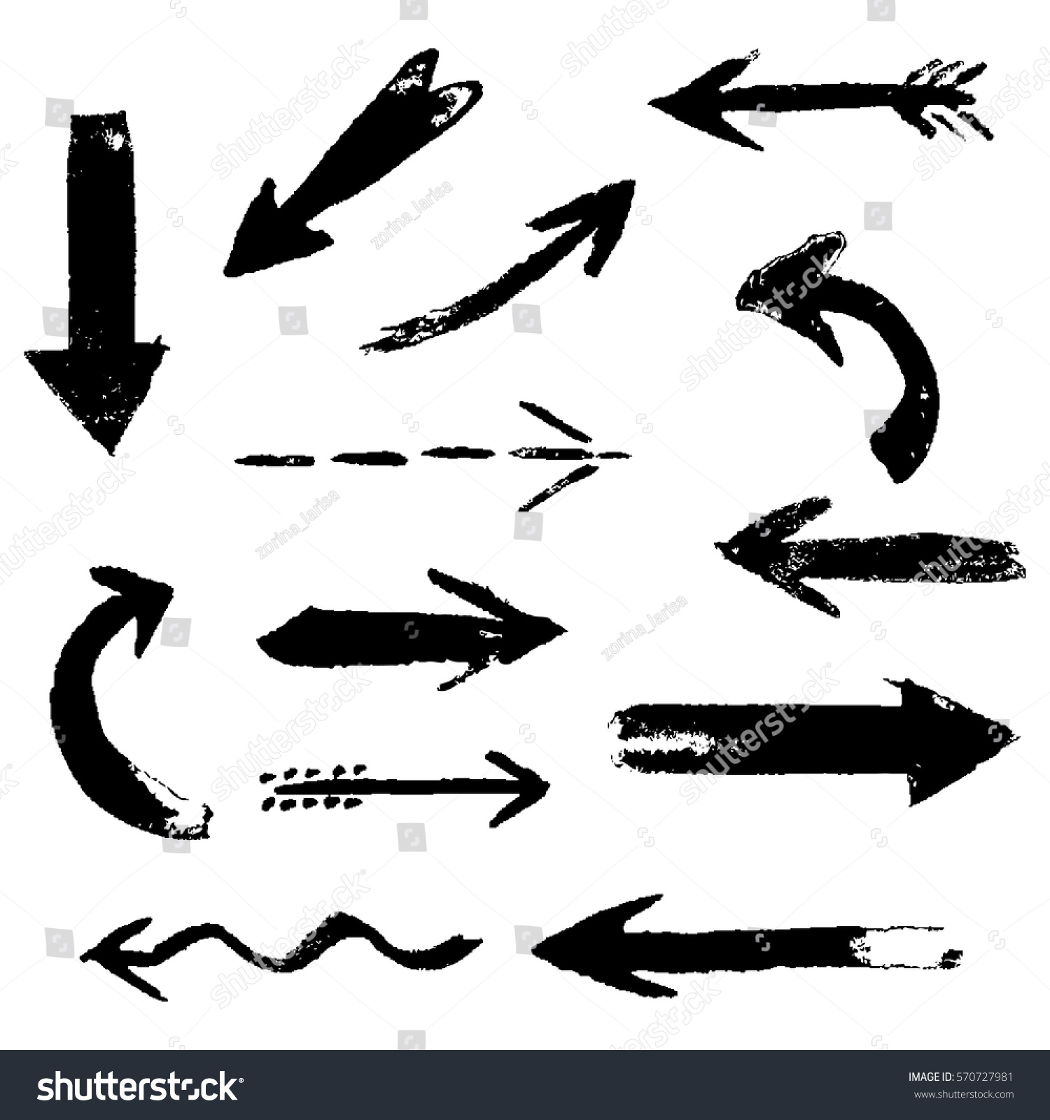 Set of hand drawing comic black ink arrows. Hand painting design elements. Vector collection on white background #570727981
