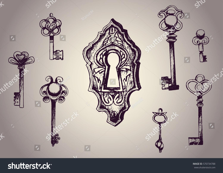Vector Key Illustration: Key Drawn Keys Lock Vector Set Stock Vector 570734788