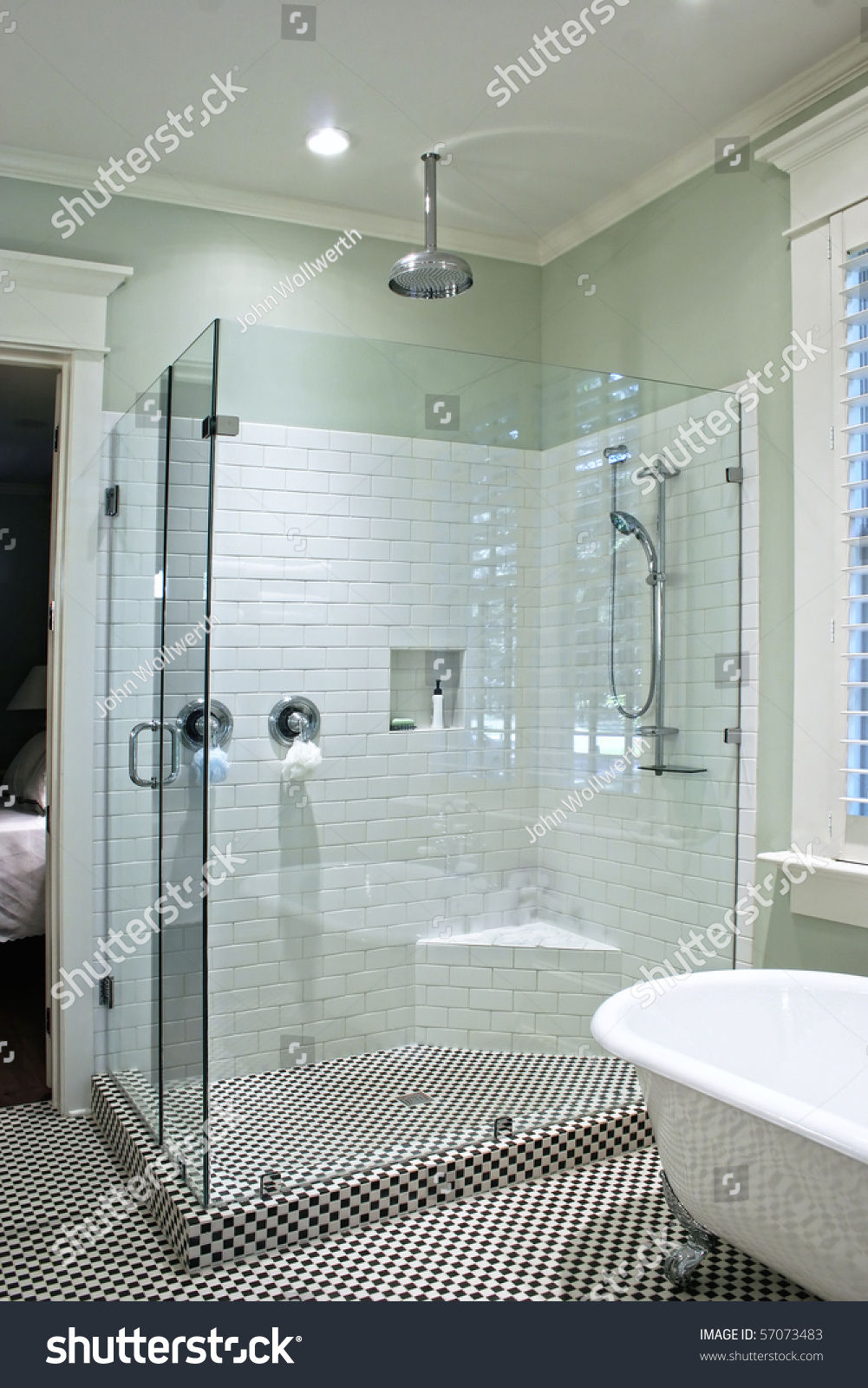 Luxurious Shower Black White Tile Glass Stock Photo (Edit Now ...