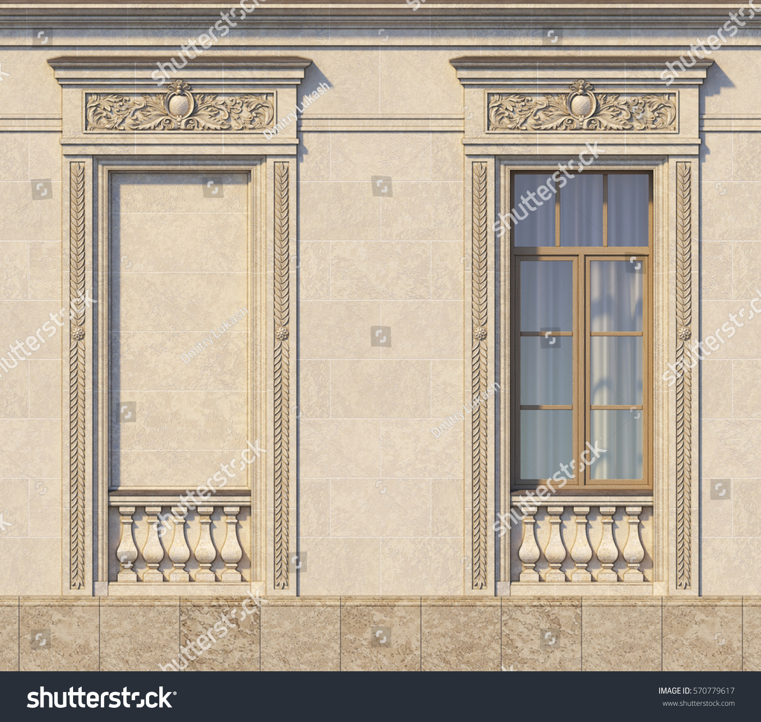 Framing Windows Classic Style On Stone Stock Illustration 570779617 ...