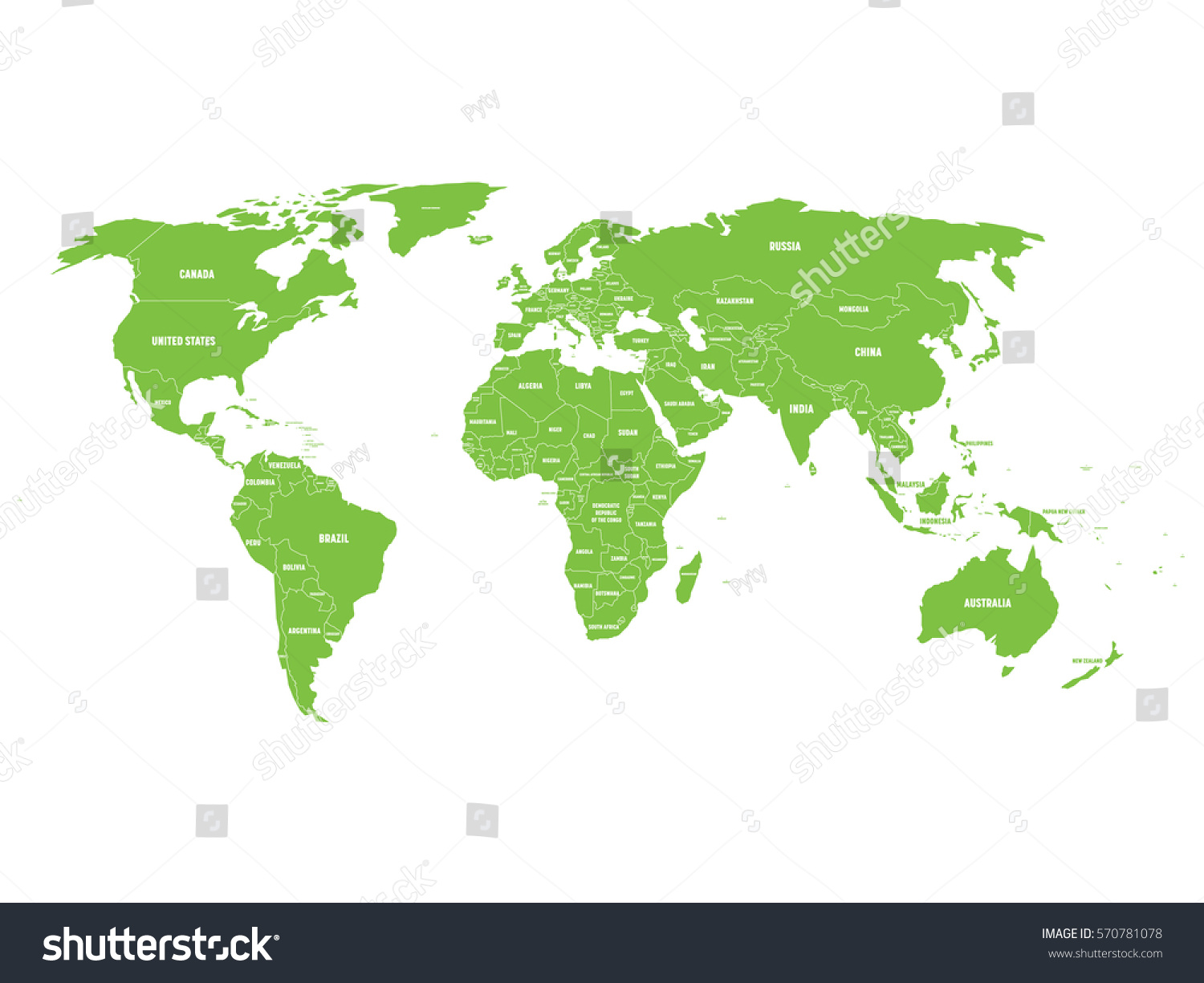 Green Political World Map Country Borders Stock Vector 570781078