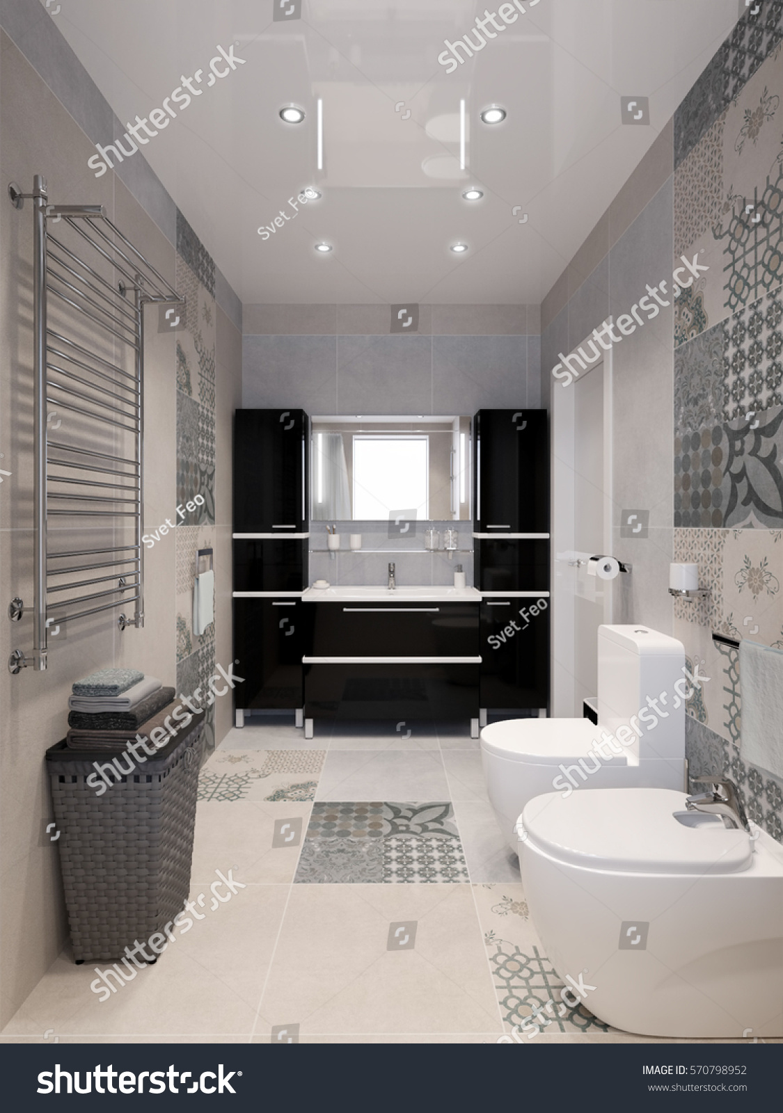 Modern bathroom interior with white beige gray tiles black cabinets shower and big mirror & Modern Bathroom Interior White Beige Gray Stock Illustration ...