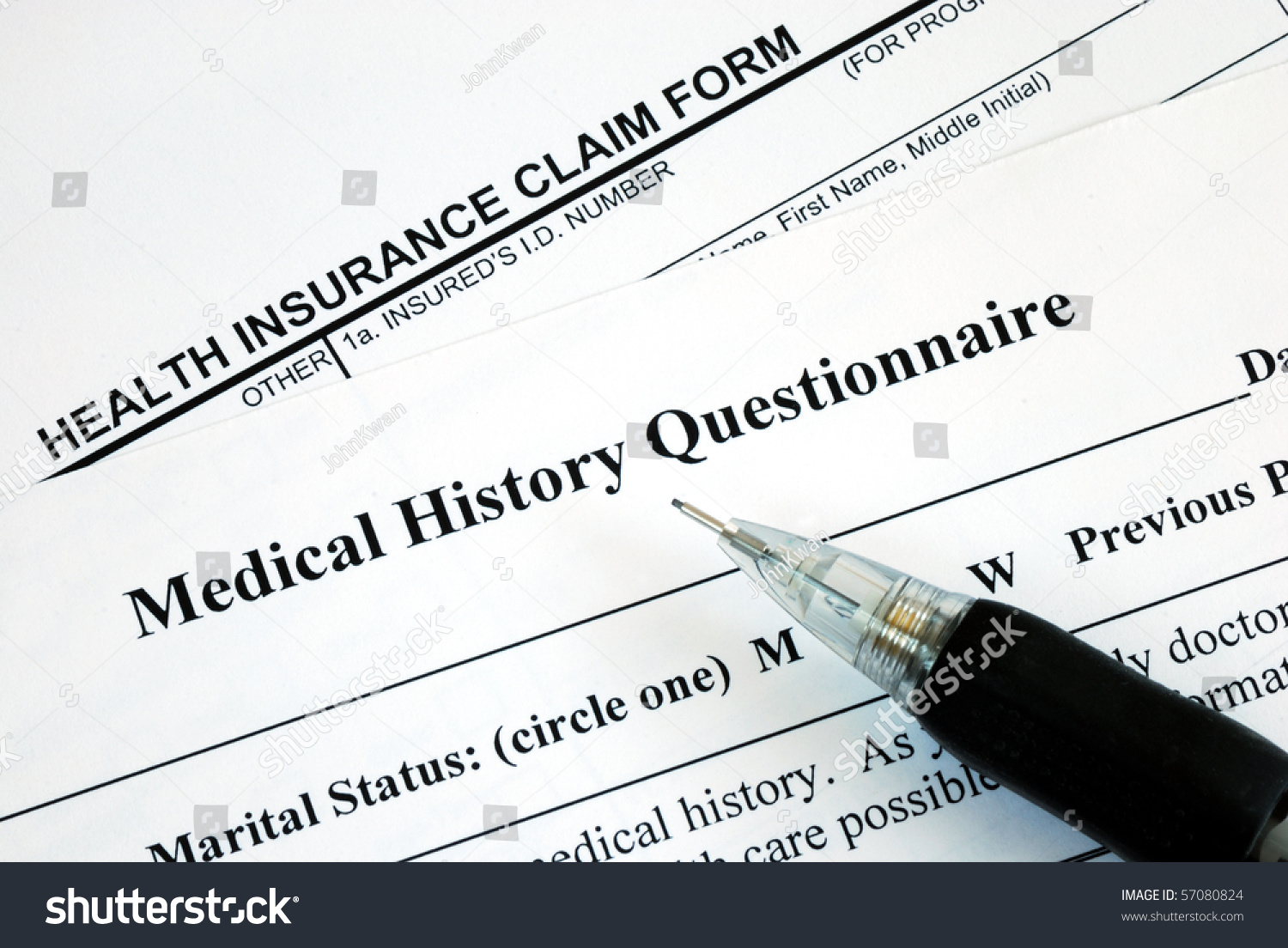 Medical Claim Form And Patient Medical History Questionnaire – Medical Claim Form