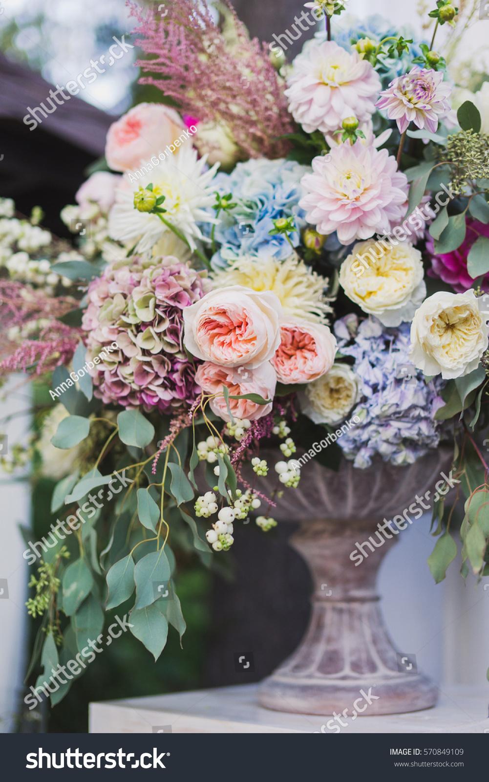 Stylish Floral Decoration Wedding Ceremony Beautiful Stock Photo