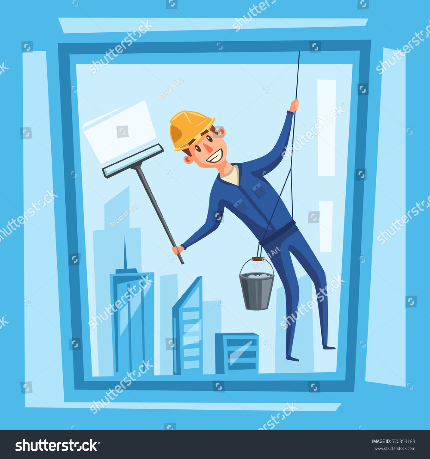 profesional worker cleaning windows cartoon vector stock vector 570853183 shutterstock. Black Bedroom Furniture Sets. Home Design Ideas