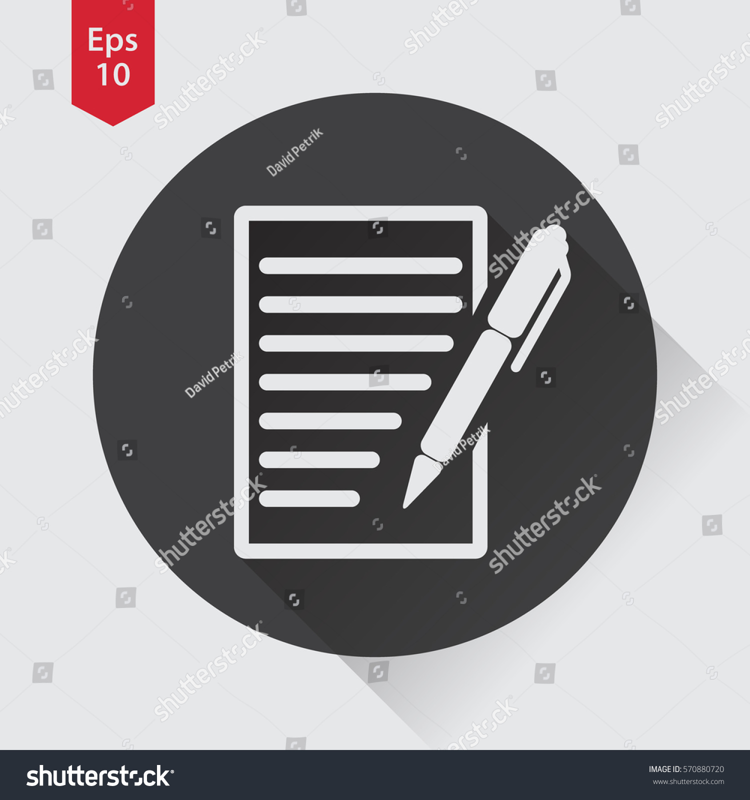 Notepad symbol simple flat icon paper stock vector 570880720 notepad symbol simple flat icon of paper and pen notebook with some text biocorpaavc Choice Image