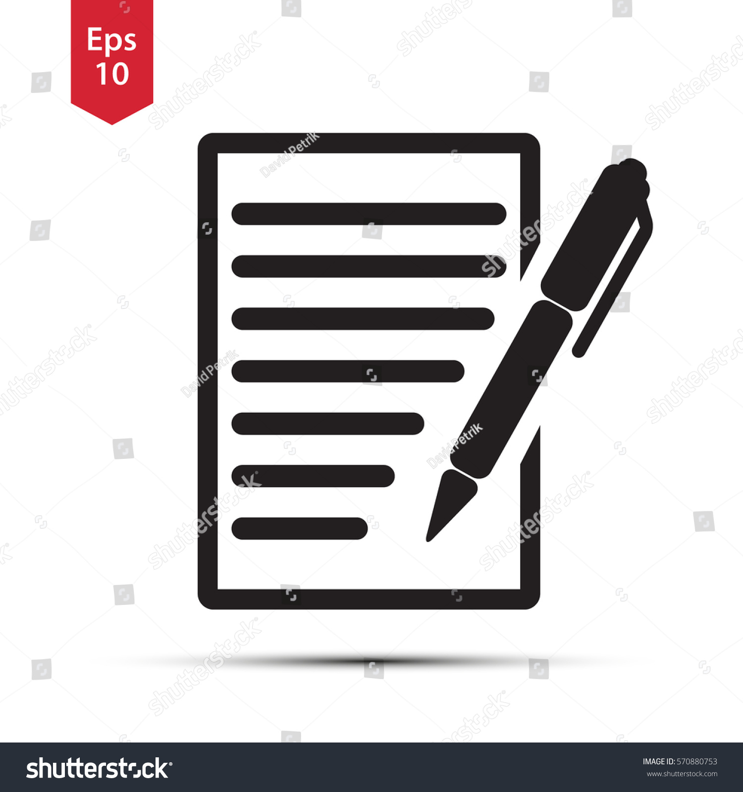 Notepad symbol simple flat icon paper stock vector 570880753 notepad symbol simple flat icon of paper and pen notebook with some text biocorpaavc Choice Image