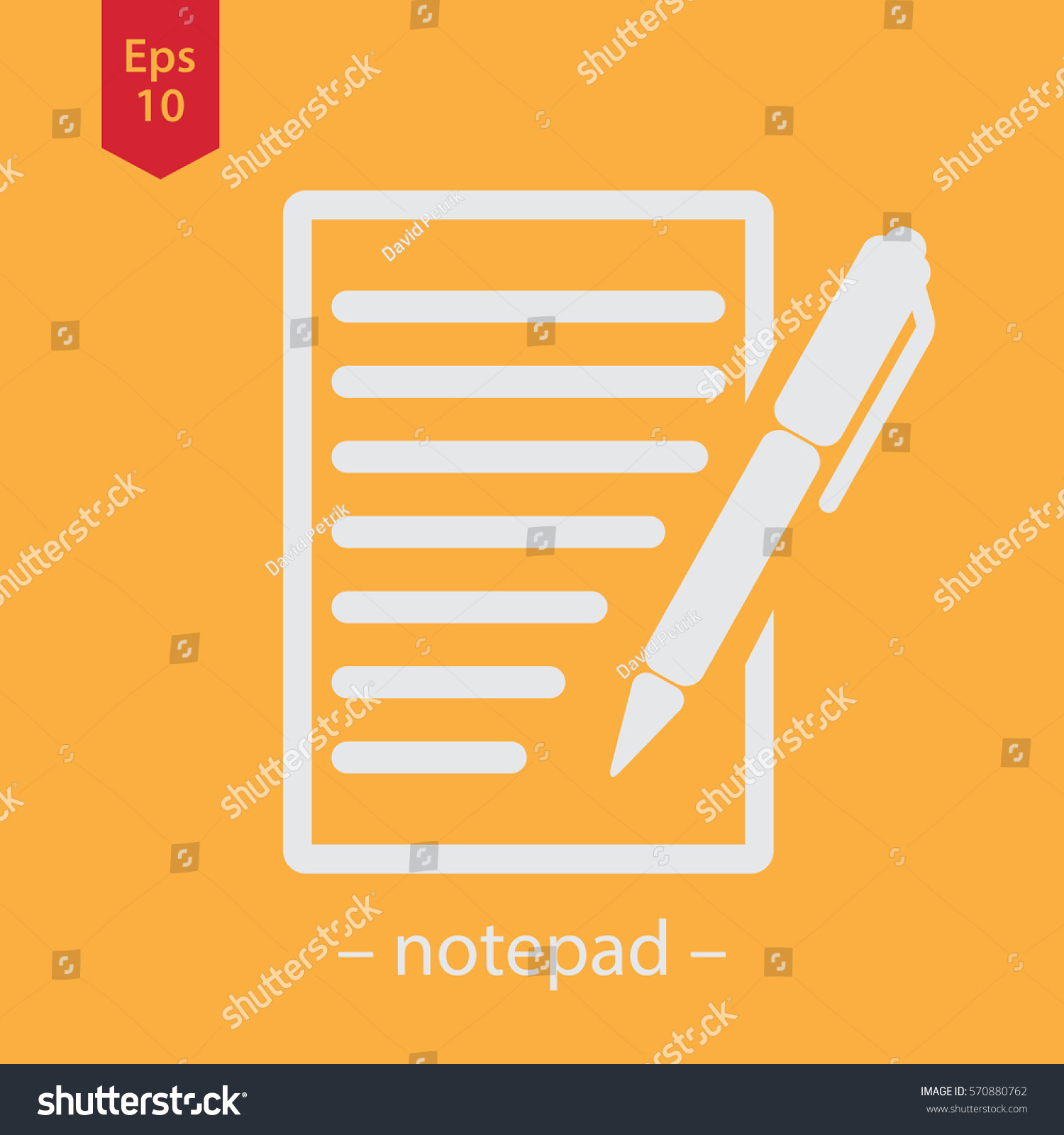 Notepad symbol simple flat icon paper stock vector 570880762 notepad symbol simple flat icon of paper and pen notebook with some text biocorpaavc Choice Image