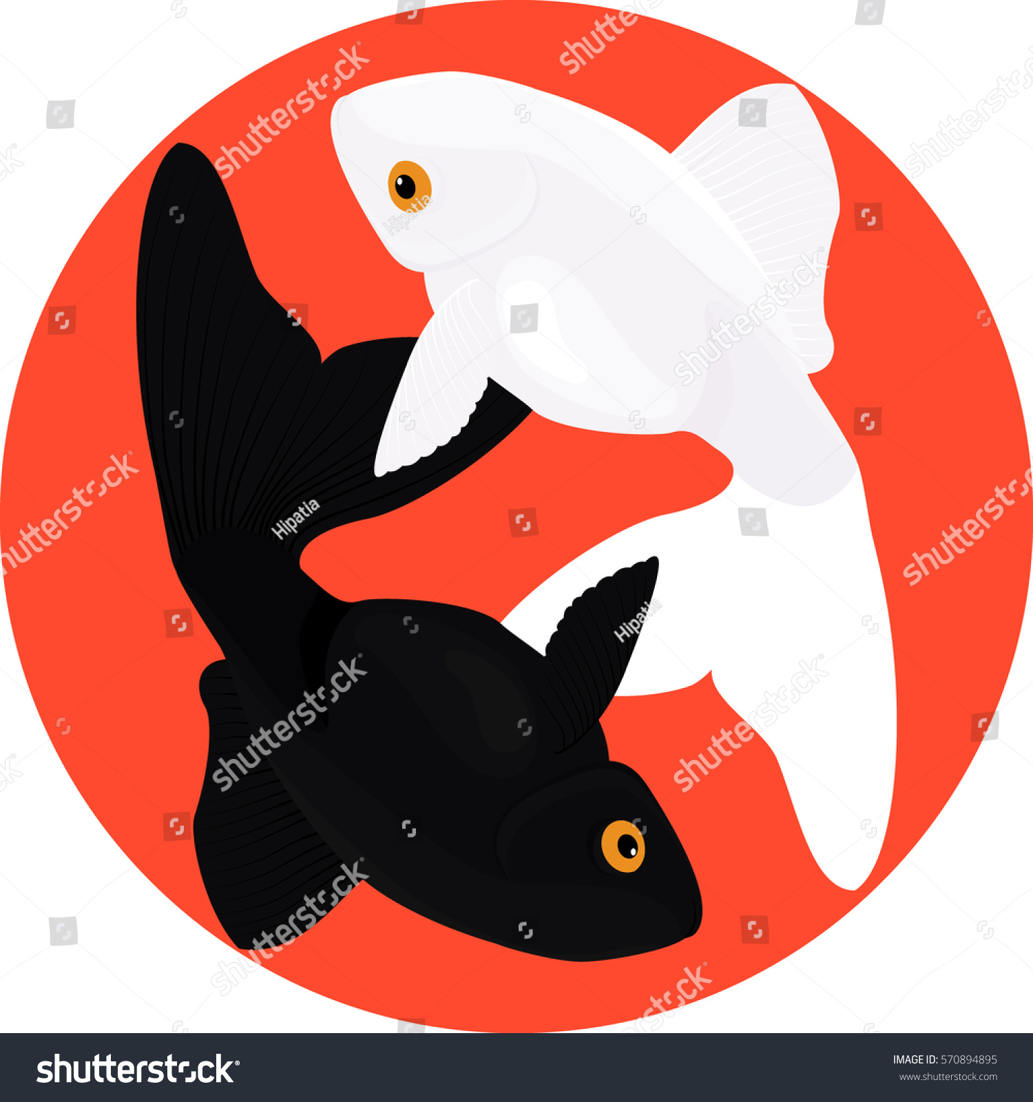 Zodiac Pisces Two Fish Symbol Yin Stock Vector Royalty Free