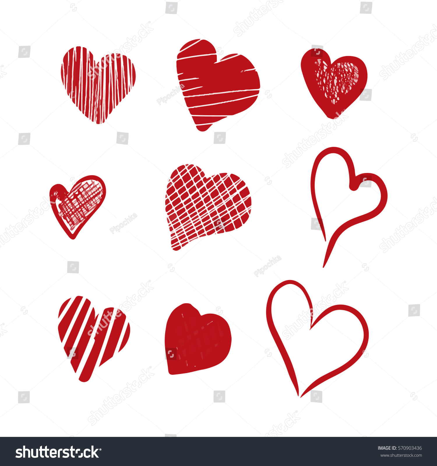 Collection Hand Drawn Sketch Red Heart Stock Illustration 570903436 ...