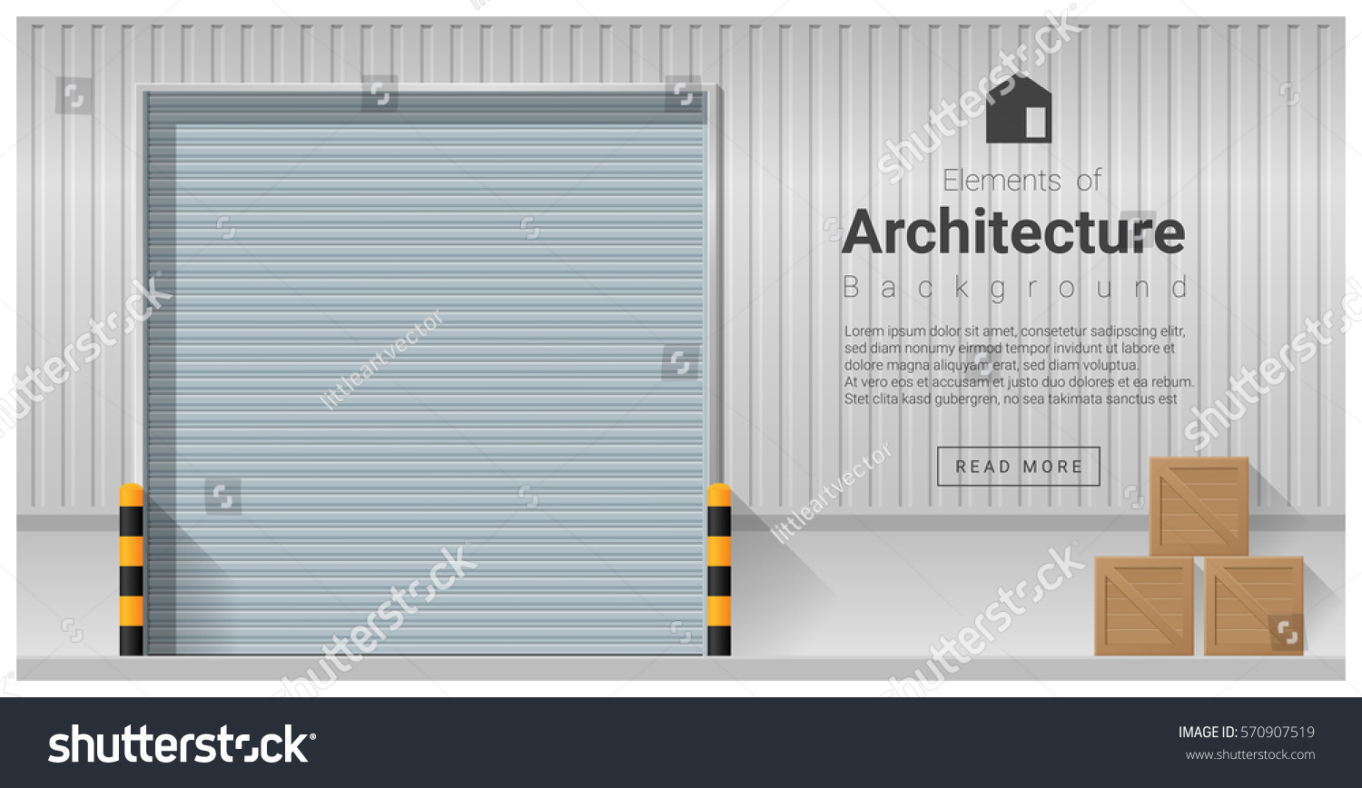 Charming Elements Of Architecture , Factory Door Background , Vector ,illustration