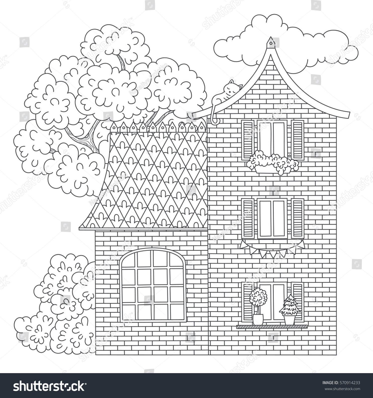 Vector Monochrome House Illustration Coloring Page Stock Vector ...