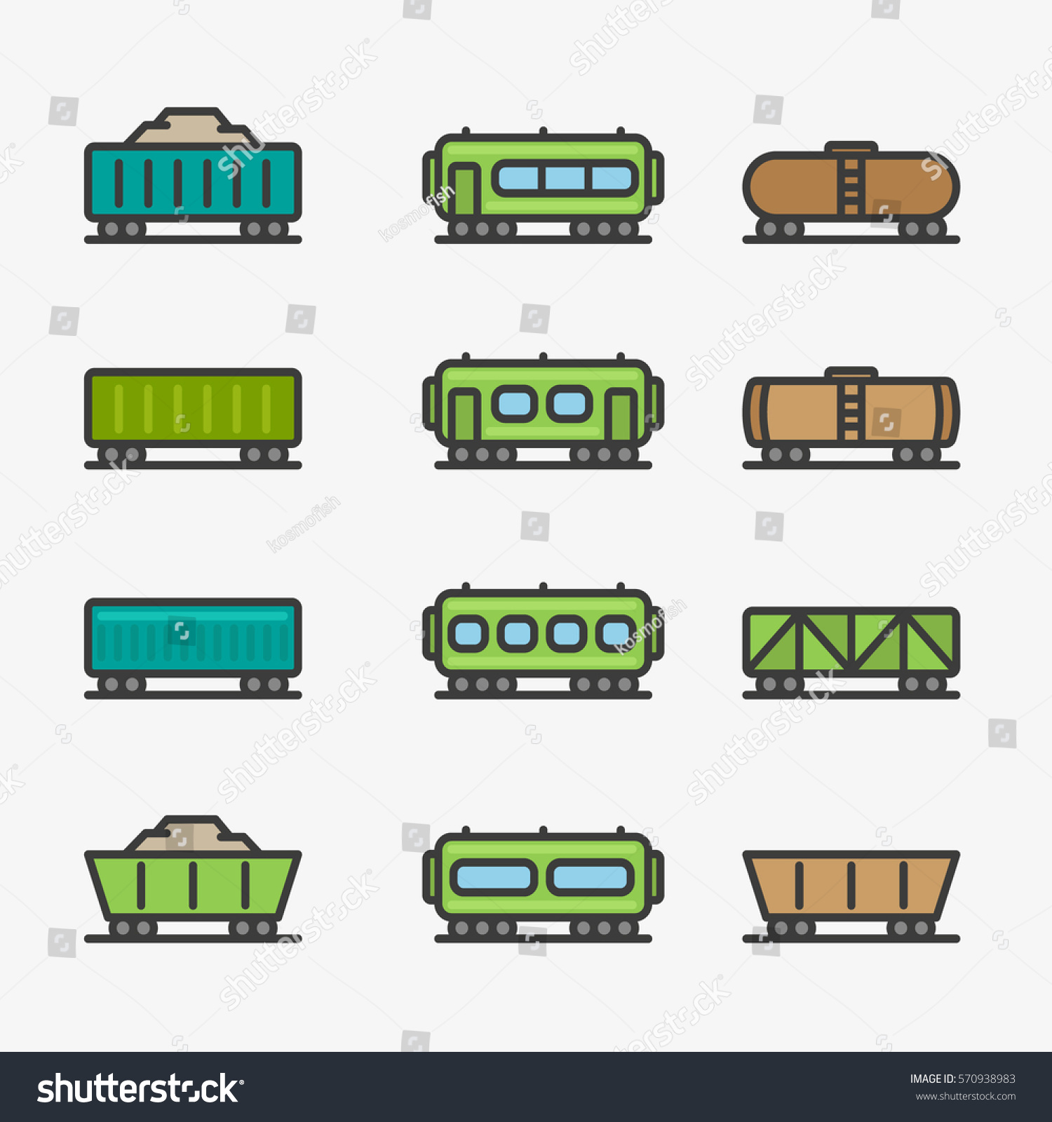 Cargo Wagon Train Container Minimal Color Stock Vector 570938983 ...