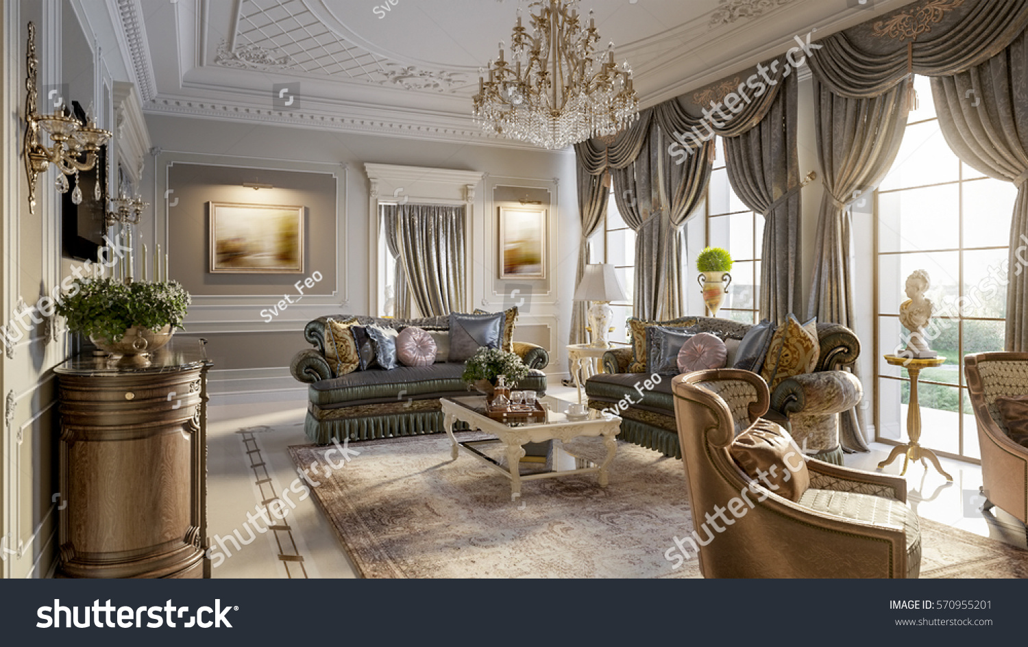 Luxurious Baroque Living Room In Large Classic Style House With Marble Fireplace Floors