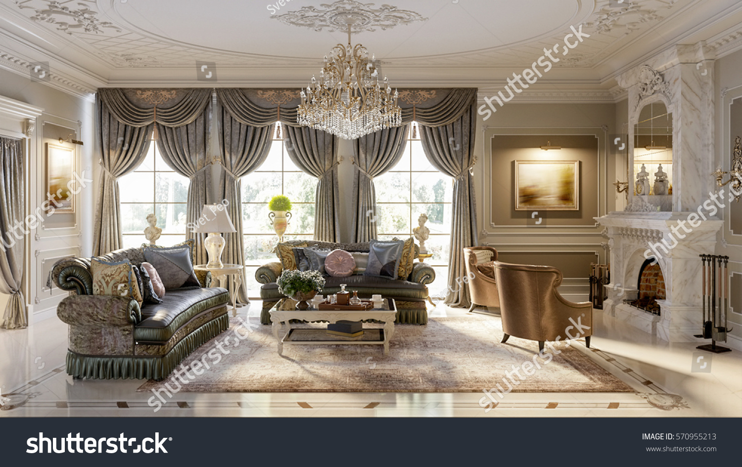 Luxurious baroque living room large classic stock illustration luxurious baroque living room in large classic style house with large marble fireplace marble floors dailygadgetfo Image collections