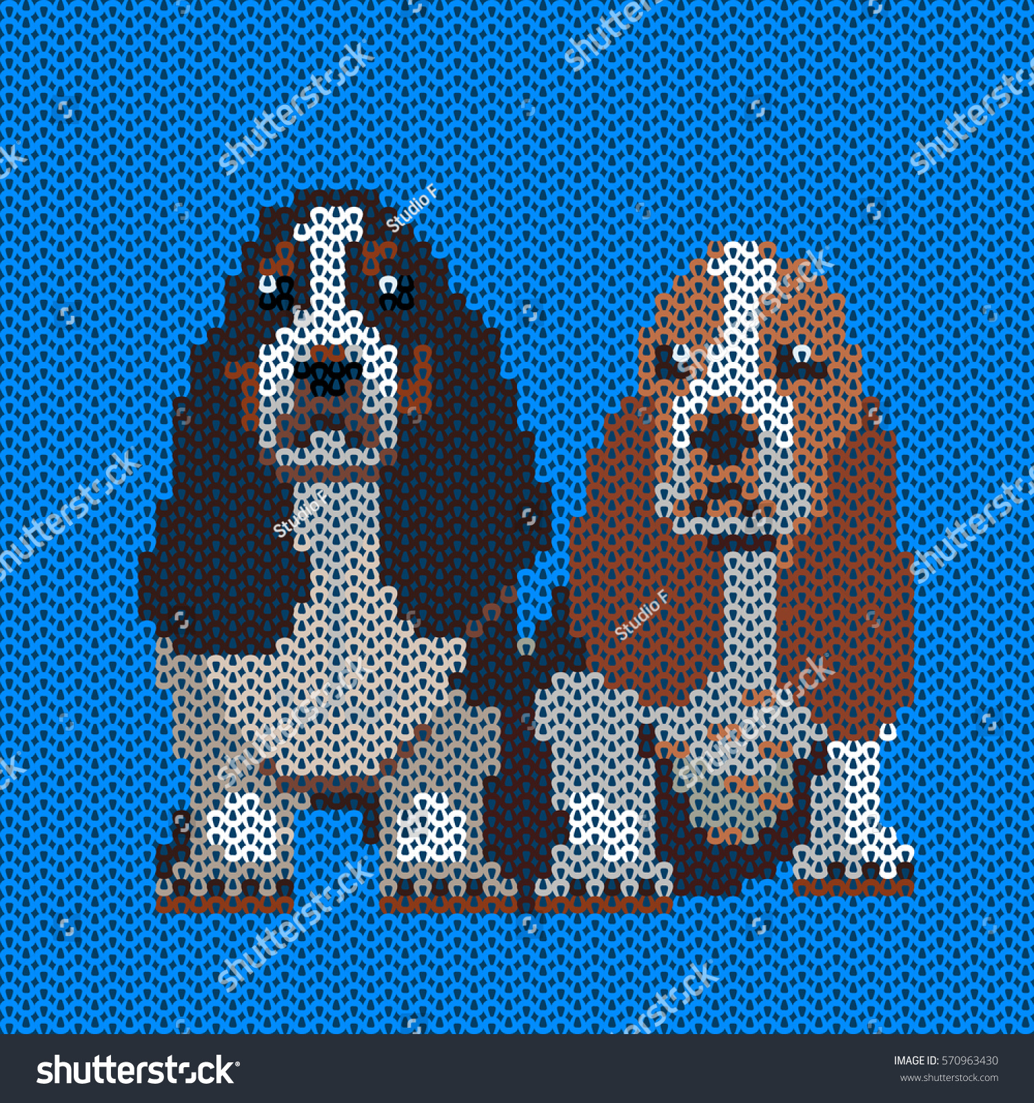 Vector Knitted Dog Pattern Two Basset Stock Vector 570963430 ...