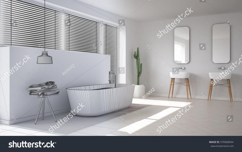 Scandinavian bathroom, white minimalistic interior design, abstract ...