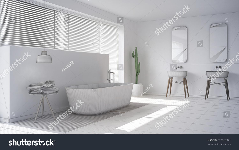 Scandinavian Bathroom White Minimalistic Interior Design Stock ...