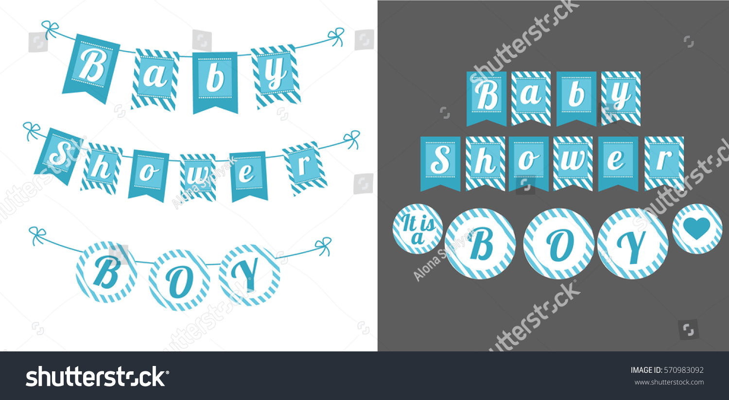 printable template flags banner baby shower stock vector royalty
