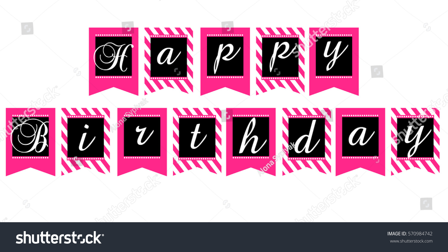 printable template flags happy birthday banner stock vector royalty