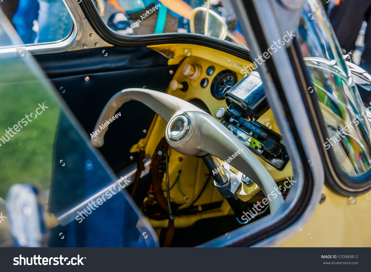 Color Beauty Vintage Cars Steering Wheel Stock Photo (Royalty Free ...