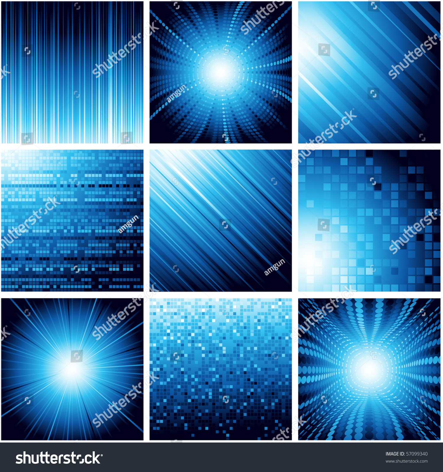 Collection Of Abstract Backgrounds In Blue Color. Vector