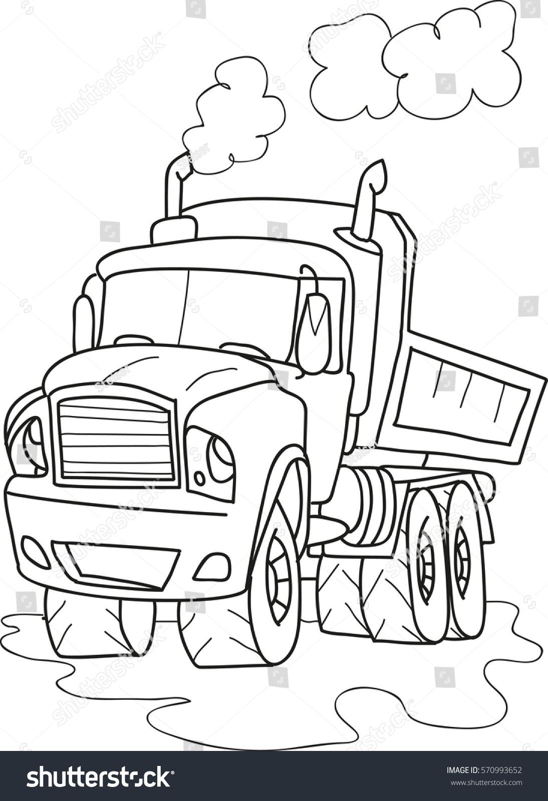 cartoon contour illustration of a big truck coloring book - Truck Coloring Book