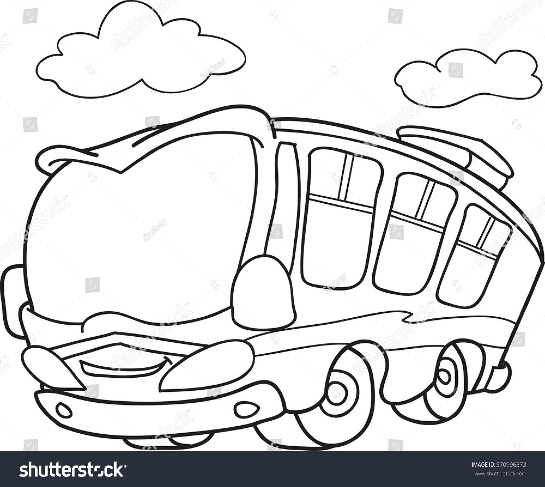 Cartoon Contour Illustration School Bus Coloring Stock Vector ...
