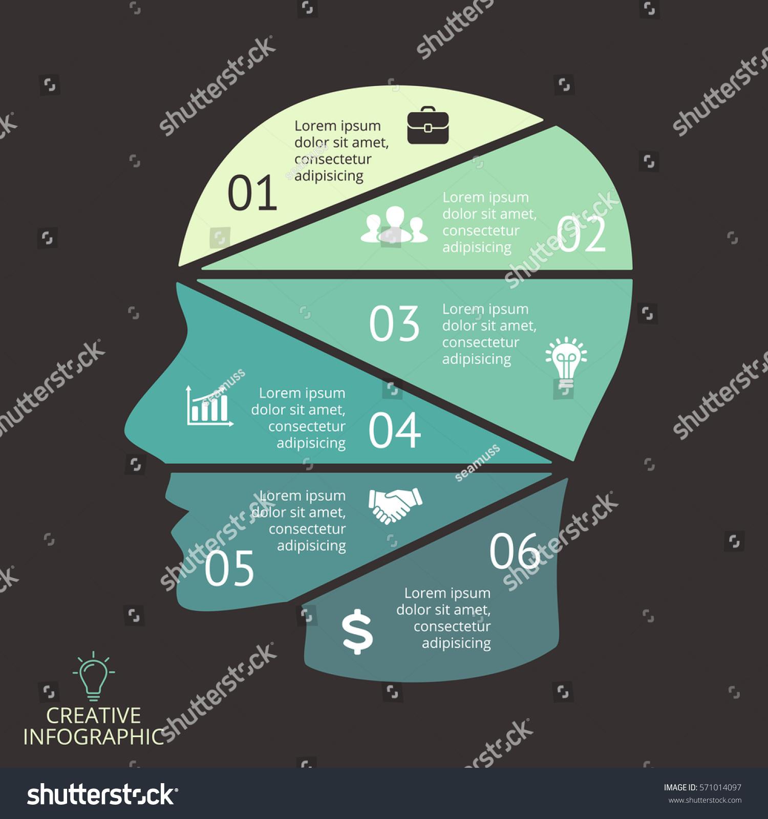 vector brain infographic template human head stock vector