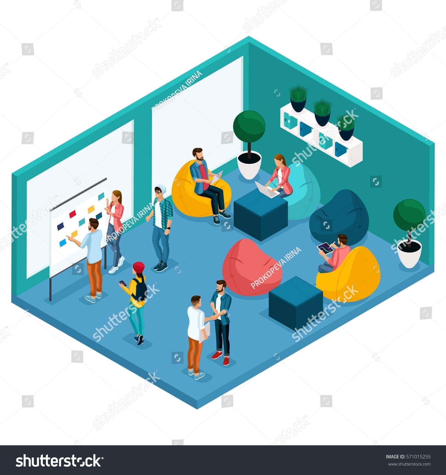 Trendy Isometric People Gadgets Room Coworking Stock