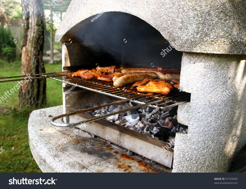 garden grill with steaks and german bratwurst - Garden Grill