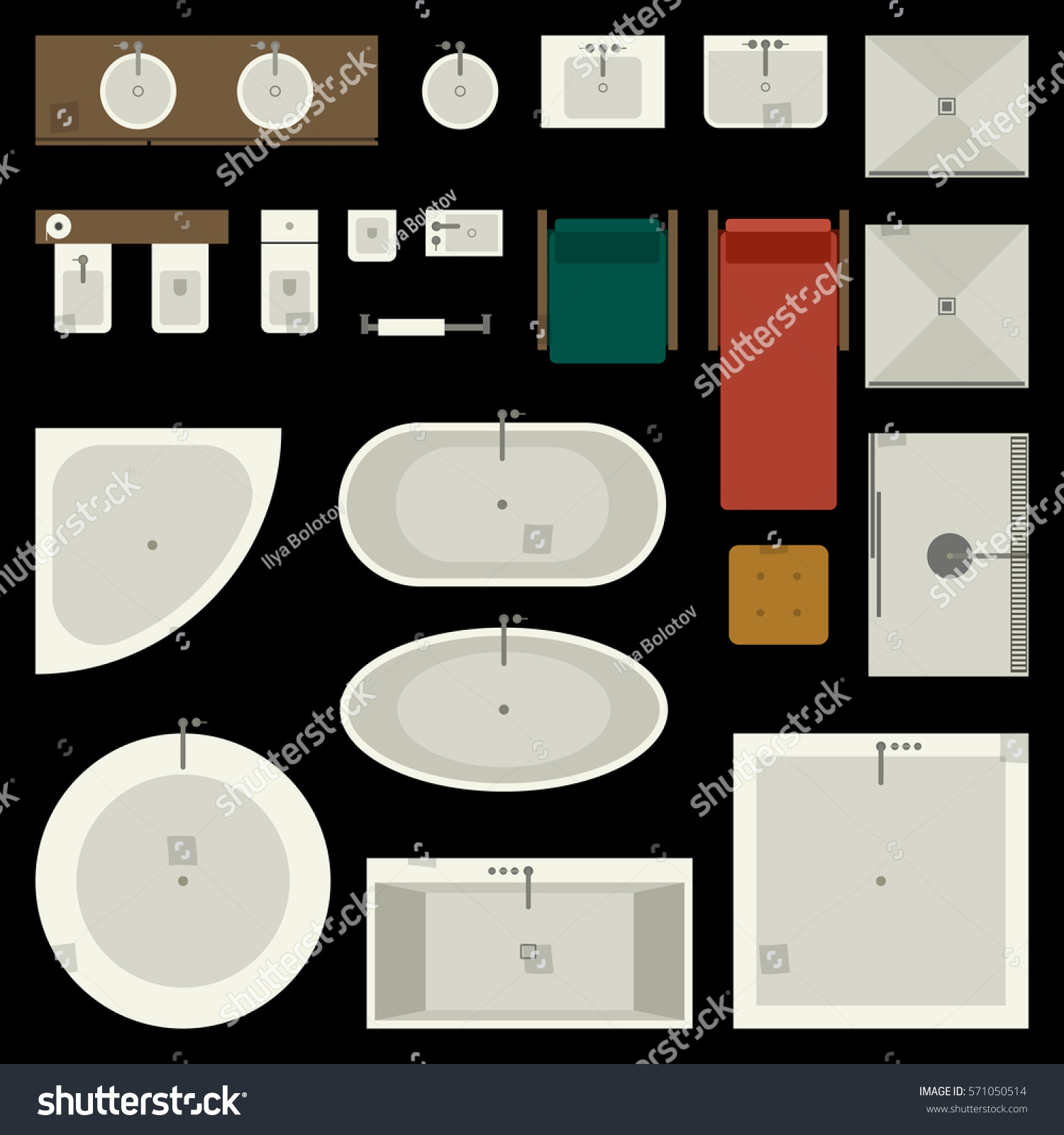 icons set bathroom furniture elements top stock vector 571050514