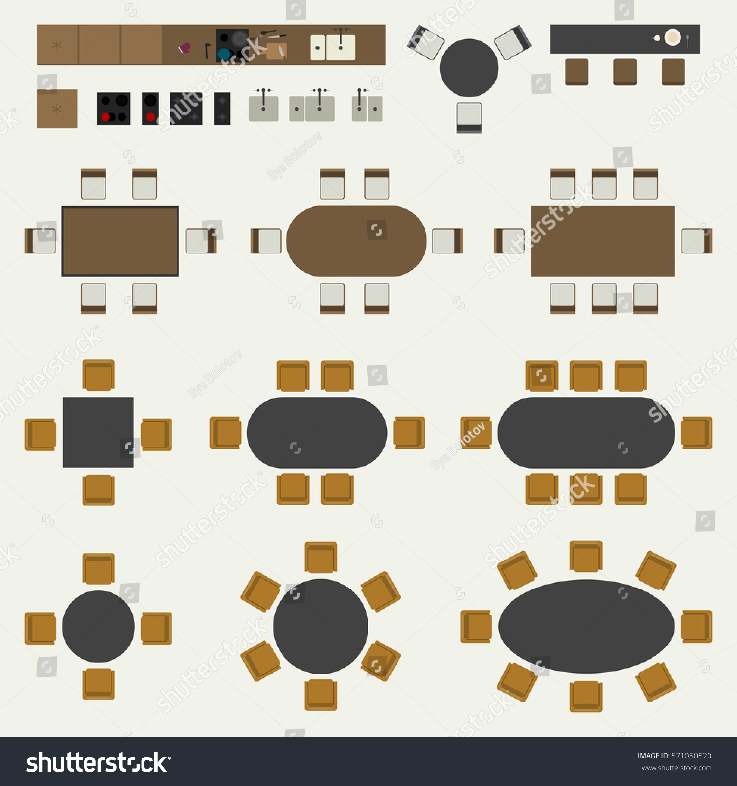 Kitchen Set Top View: Icons Set Interior Elements Top View Stock Vector
