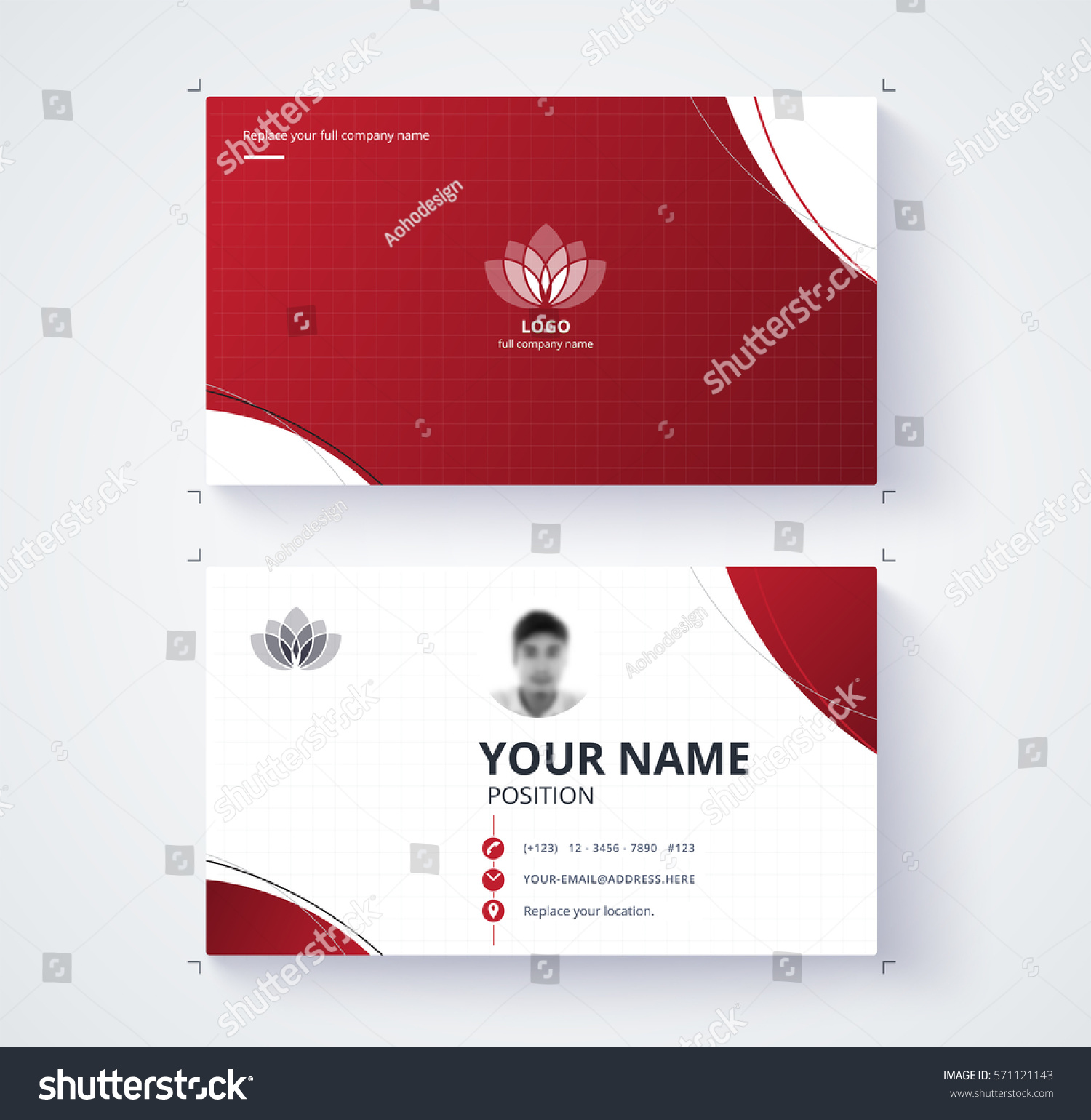 Red Business Card Template Sample Logo Stock Vector 571121143 ...