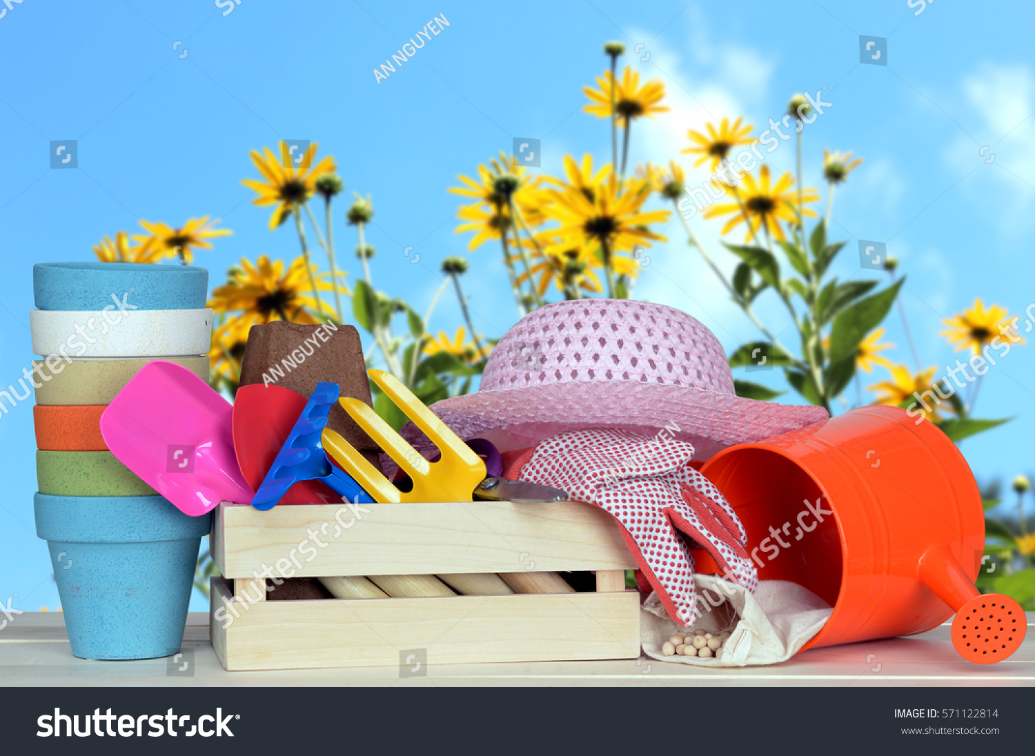 Decoration Garden Tool On Table Garden Stock Photo Edit Now