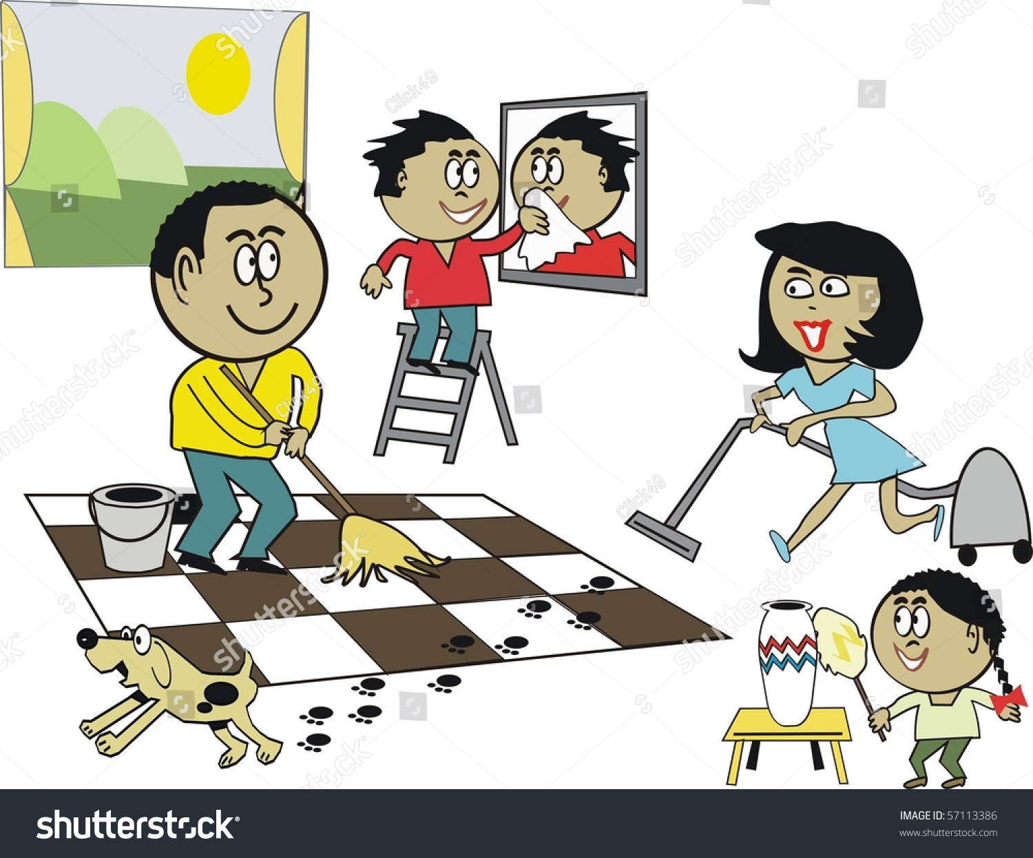 Vector Cartoon Happy African Family Cleaning Stock Vector
